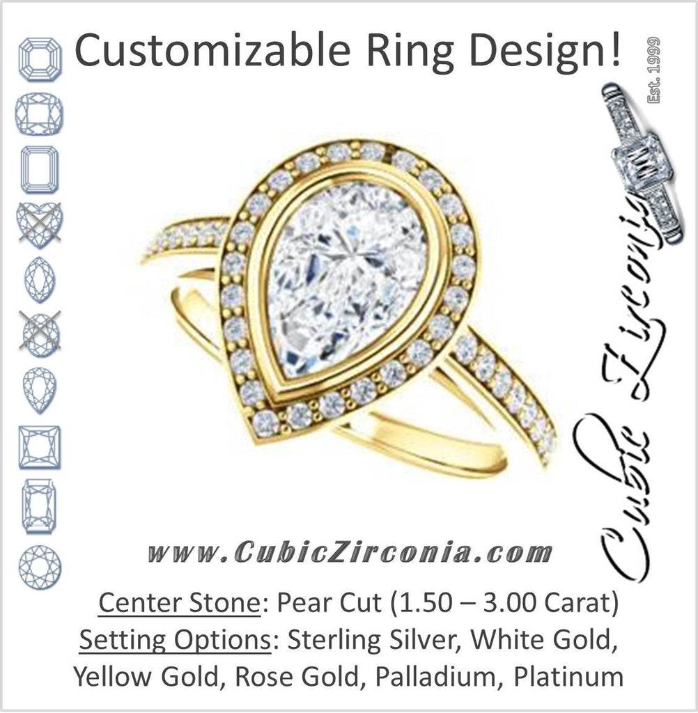 Cubic Zirconia Engagement Ring- The Samira (Customizable Halo-style Pear Cut with Under-Halo Trellis and Thin Pavé Band)