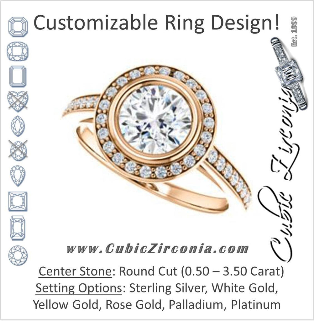 Cubic Zirconia Engagement Ring- The Samira (Customizable Halo-style Round Cut with Under-Halo Trellis and Thin Pavé Band)