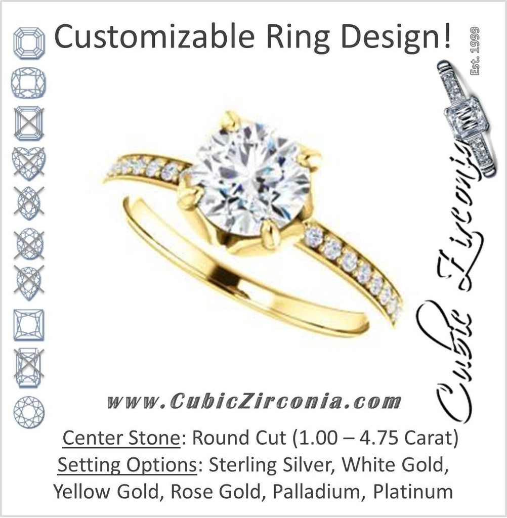 Cubic Zirconia Engagement Ring- The Sandy (Customizable Prong-Accented Round Cut Style with Thin Pavé Band)