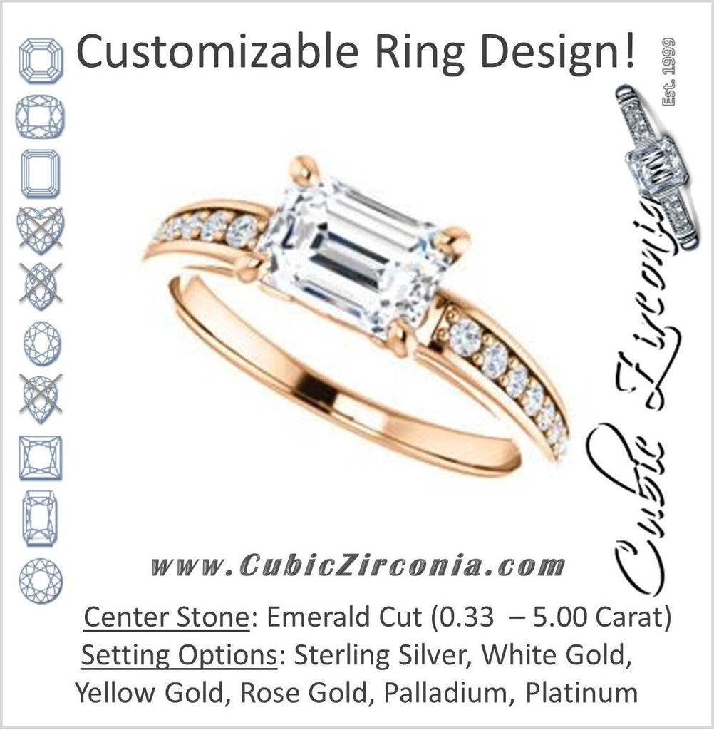 Cubic Zirconia Engagement Ring- The Sashalle (Customizable Cathedral-Raised Emerald Cut Design with Tapered Pavé Band)