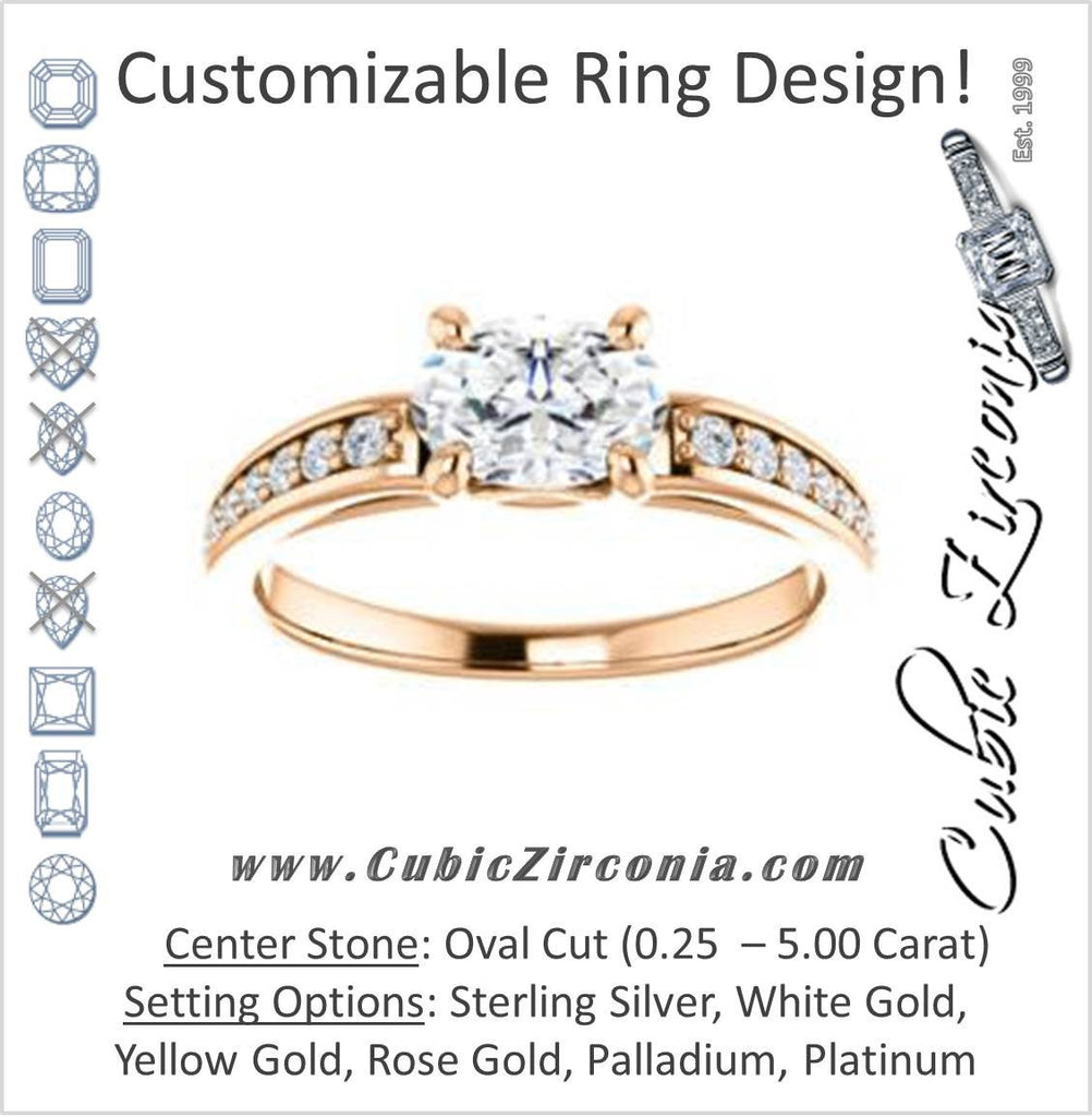 Cubic Zirconia Engagement Ring- The Sashalle (Customizable Cathedral-Raised Oval Cut Design with Tapered Pavé Band)