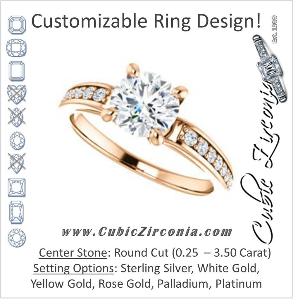 Cubic Zirconia Engagement Ring- The Sashalle (Customizable Cathedral-Raised Round Cut Design with Tapered Pavé Band)