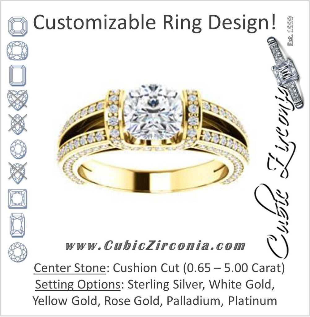 Cubic Zirconia Engagement Ring- The Scarlett (Cushion Cut with Prong-Accented Bar Basket and Split Pavé Band)