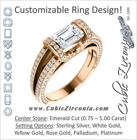 Cubic Zirconia Engagement Ring- The Scarlett (Emerald Cut with Prong-Accented Bar Basket and Split Pavé Band)