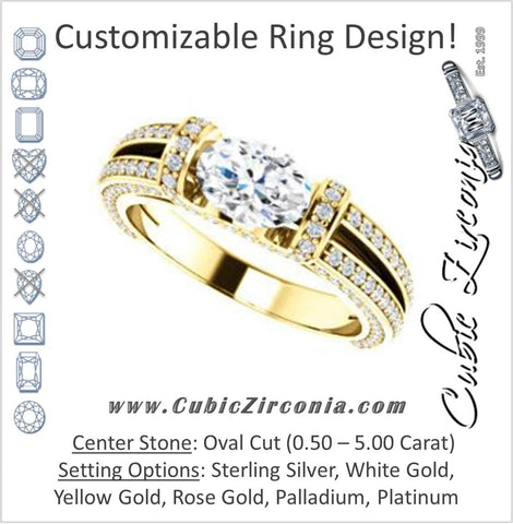 Cubic Zirconia Engagement Ring- The Scarlett (Oval Cut with Prong-Accented Bar Basket and Split Pavé Band)
