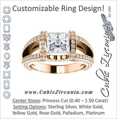 Cubic Zirconia Engagement Ring- The Scarlett (Princess Cut with Prong-Accented Bar Basket and Split Pavé Band)