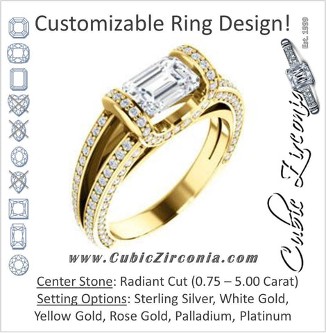 Cubic Zirconia Engagement Ring- The Scarlett (Radiant Cut with Prong-Accented Bar Basket and Split Pavé Band)