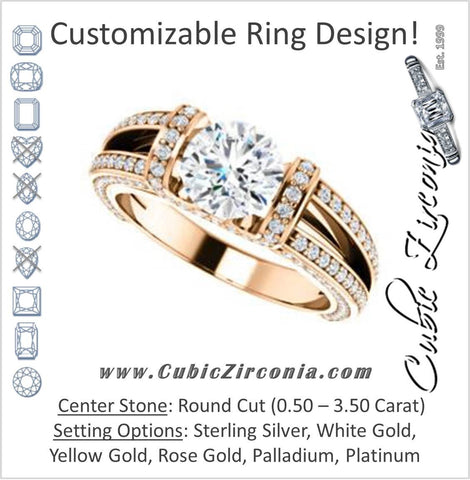 Cubic Zirconia Engagement Ring- The Scarlett (Round Cut with Prong-Accented Bar Basket and Split Pavé Band)