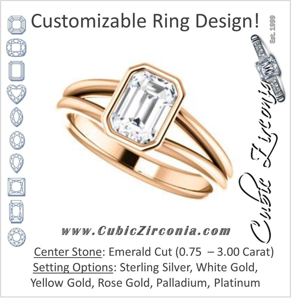 Cubic Zirconia Engagement Ring- The Shae (Customizable Emerald Cut Split-Band Solitaire)