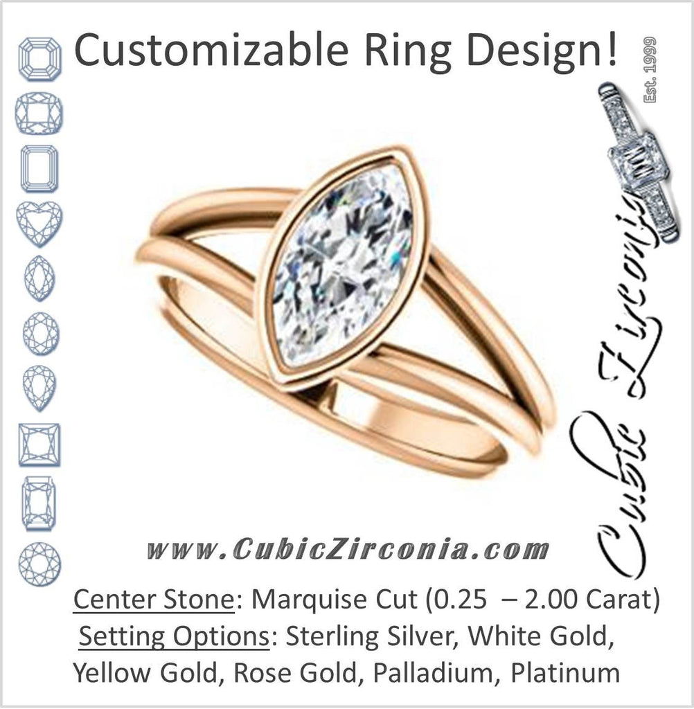 Cubic Zirconia Engagement Ring- The Shae (Customizable Marquise Cut Split-Band Solitaire)