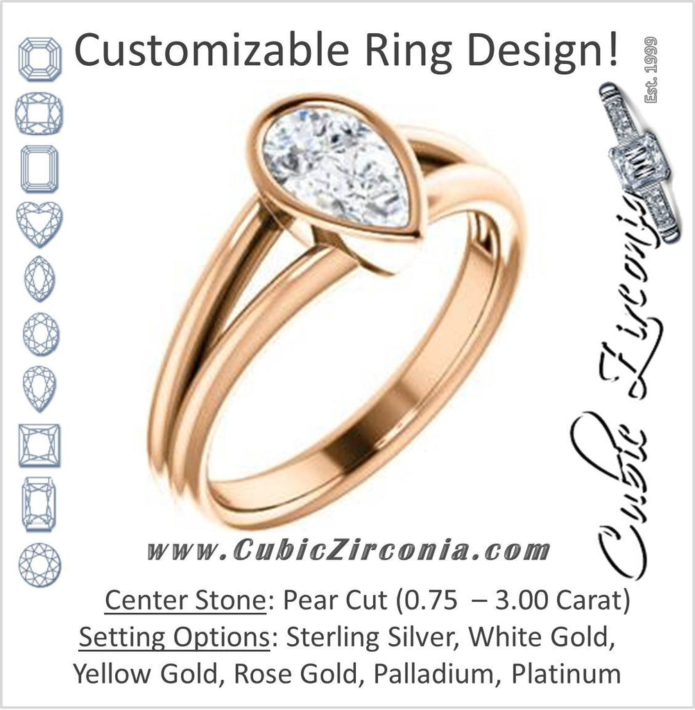 Cubic Zirconia Engagement Ring- The Shae (Customizable Pear Cut Split-Band Solitaire)