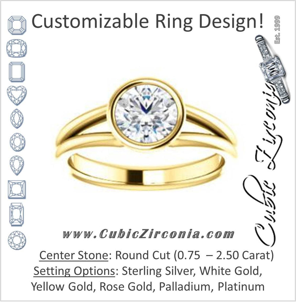 Cubic Zirconia Engagement Ring- The Shae (Customizable Round Cut Split-Band Solitaire)
