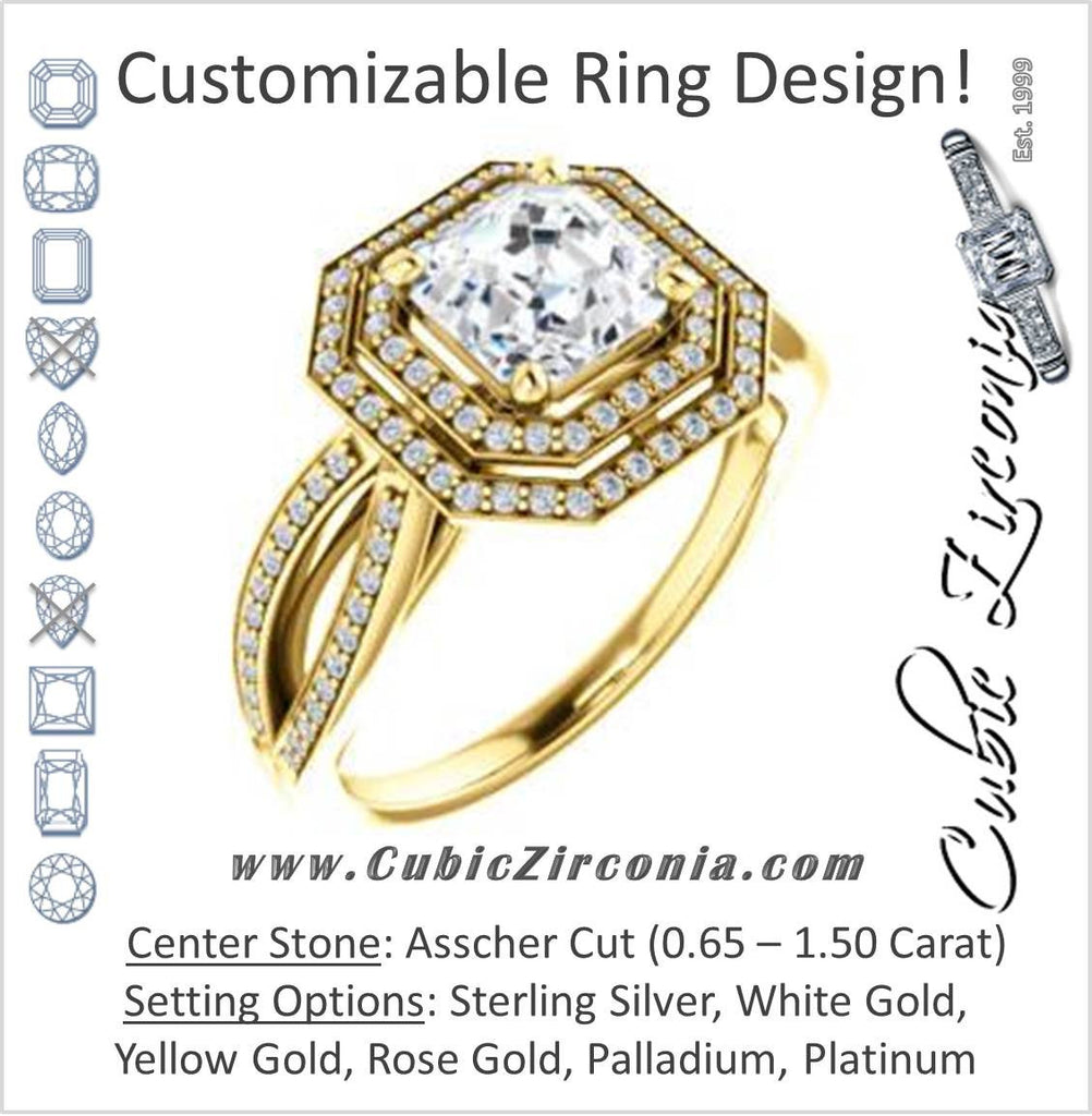 Cubic Zirconia Engagement Ring- The Shannan (Customizable Cathedral-set Asscher Cut 2x Halo with Split-Pavé Band)