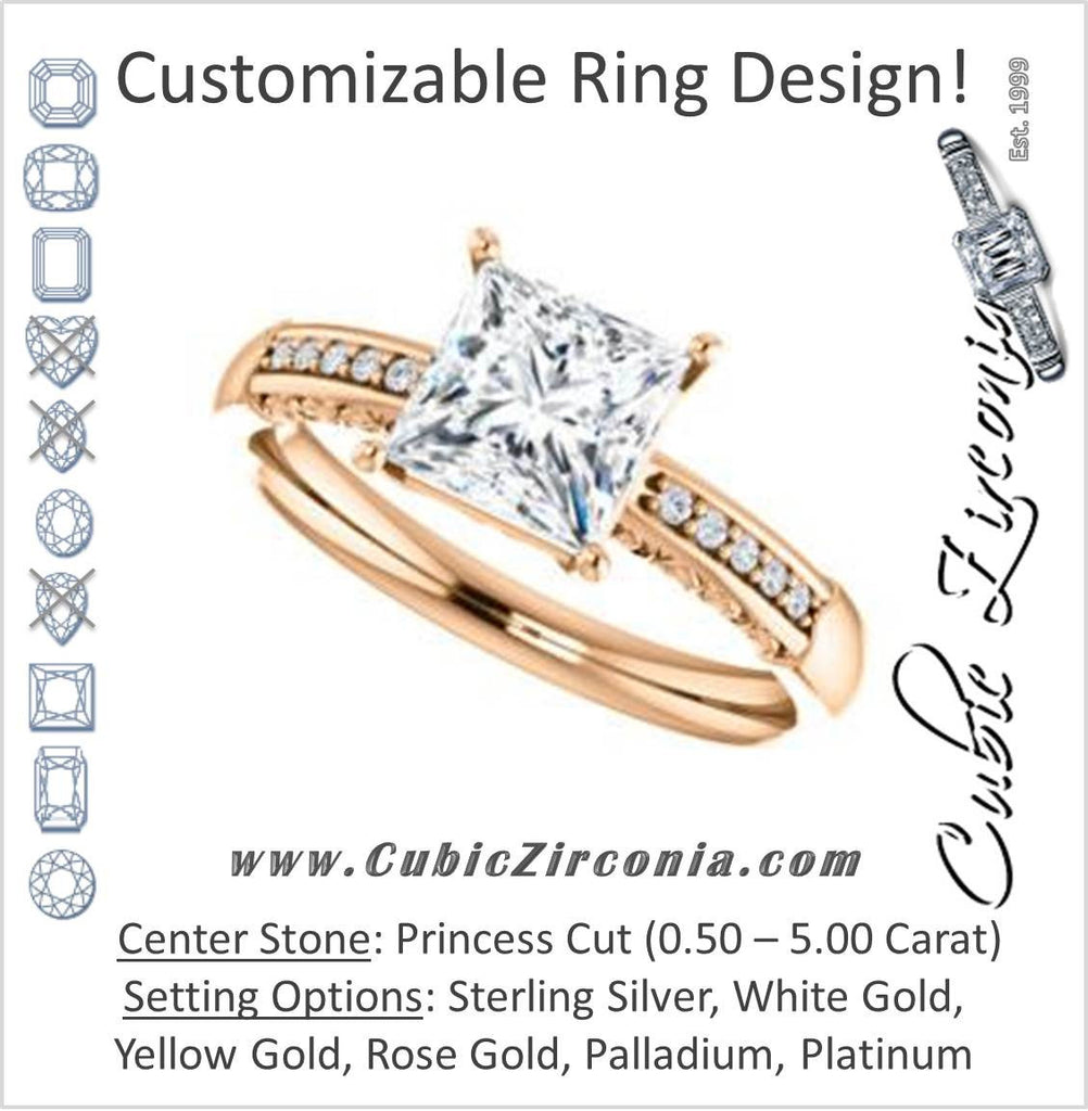 Cubic Zirconia Engagement Ring- The Shantya (Customizable 11-stone Princess Cut Design with Round Accents & Delicate Filigree)