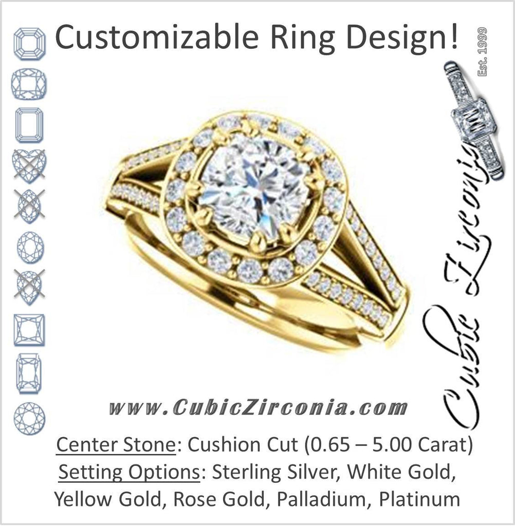 Cubic Zirconia Engagement Ring- The Shaundra (Customizable Cushion Cut with Halo, Cathedral Prong Accents & Split-Pavé Band)