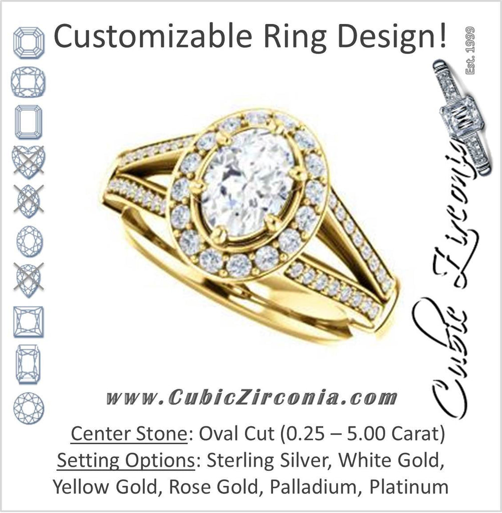 Cubic Zirconia Engagement Ring- The Shaundra (Customizable Oval Cut with Halo, Cathedral Prong Accents & Split-Pavé Band)