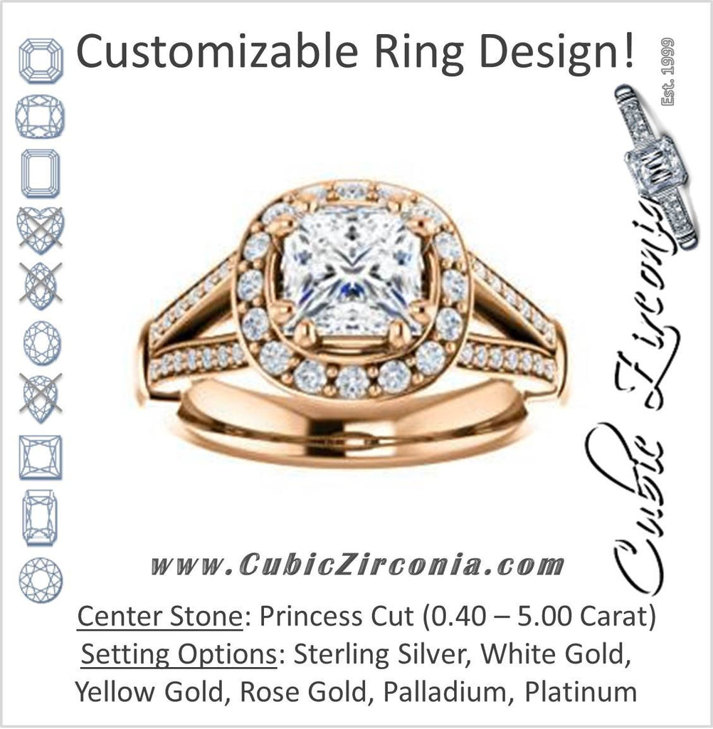 Cubic Zirconia Engagement Ring- The Shaundra (Customizable Princess Cut with Halo, Cathedral Prong Accents & Split-Pavé Band)