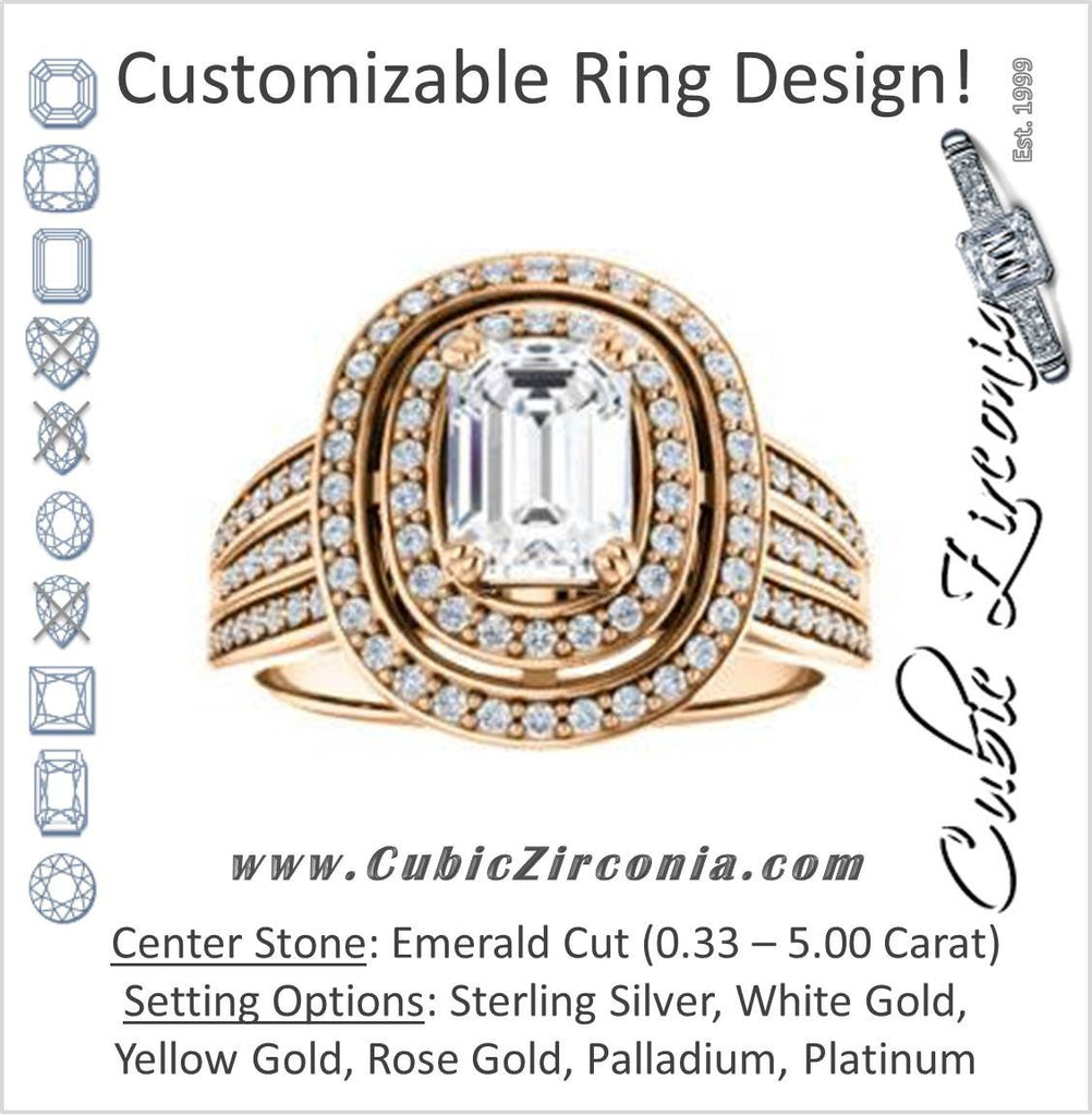 Cubic Zirconia Engagement Ring- The Shay (Customizable Emerald Cut Ultra-wide w/ Double-Halo and Triple-Pavé Band)
