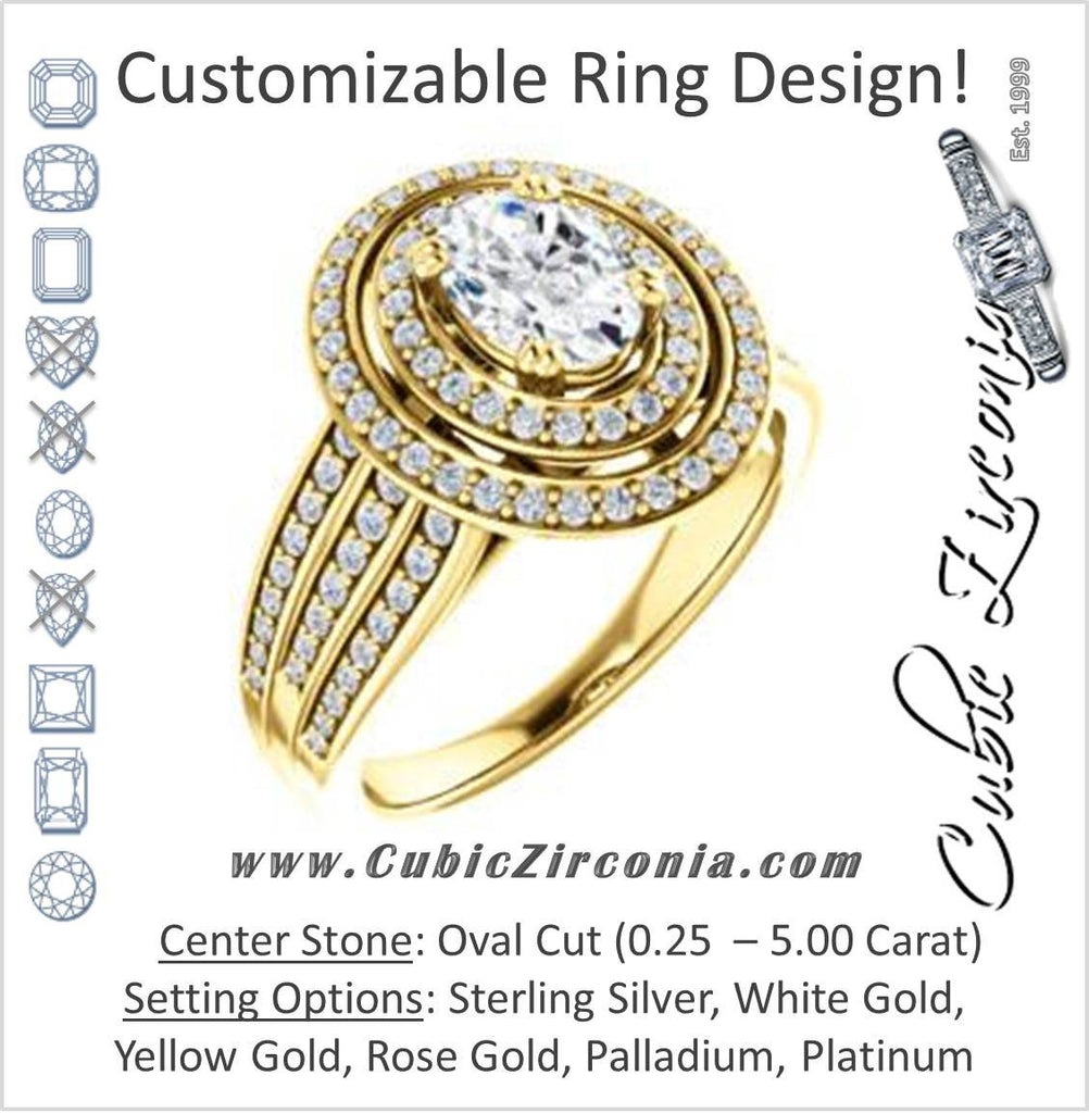 Cubic Zirconia Engagement Ring- The Shay (Customizable Oval Cut Ultra-wide w/ Double-Halo and Triple-Pavé Band)