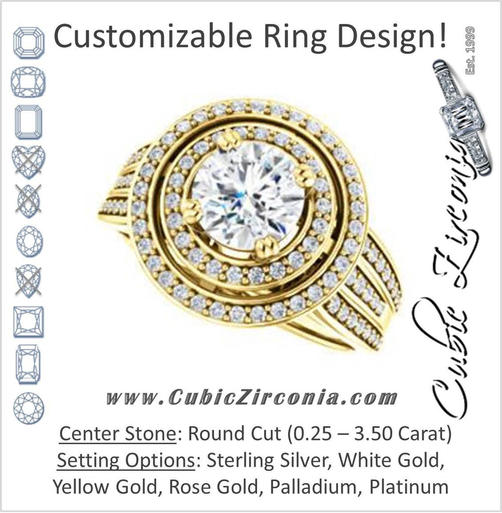 Cubic Zirconia Engagement Ring- The Shay (Customizable Round Cut Ultra-wide w/ Double-Halo and Triple-Pavé Band)