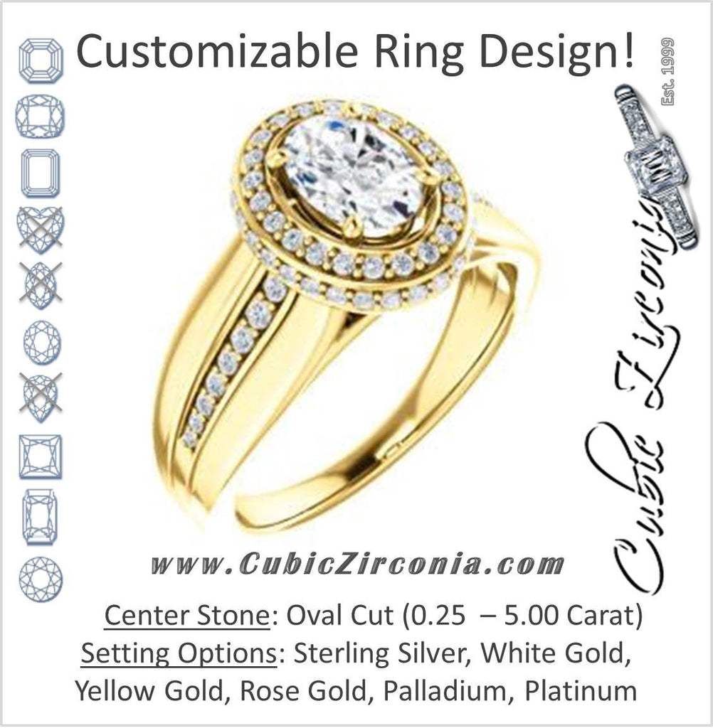 Cubic Zirconia Engagement Ring- The Siri (Customizable Oval Cut Design featuring Halo & Underhalo Plus Wide Accented Band)