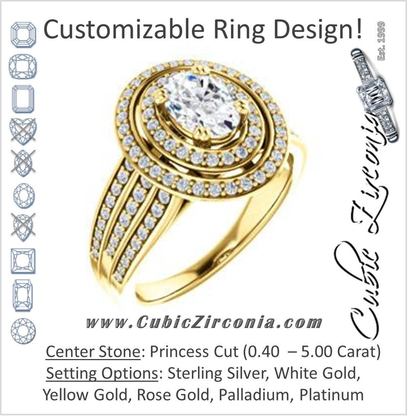 Cubic Zirconia Engagement Ring- The Siri (Customizable Princess Cut Design featuring Halo & Underhalo Plus Wide Accented Band)