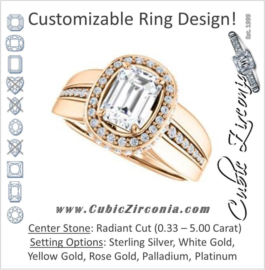 Cubic Zirconia Engagement Ring- The Siri (Customizable Radiant Cut Design featuring Halo & Underhalo Plus Wide Accented Band)