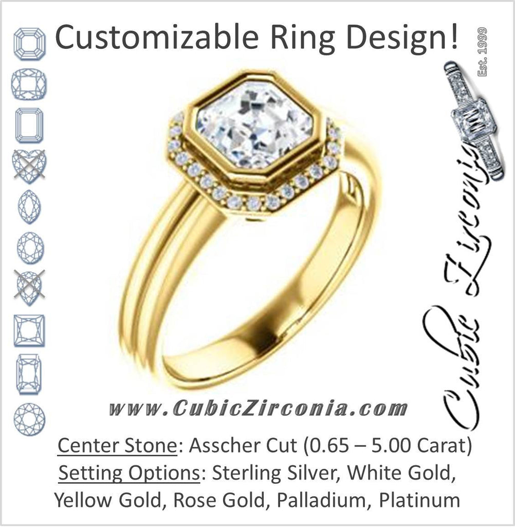 Cubic Zirconia Engagement Ring- The Sloan (Bezel Style Halo and Customizable Asscher Cut Center Stone)