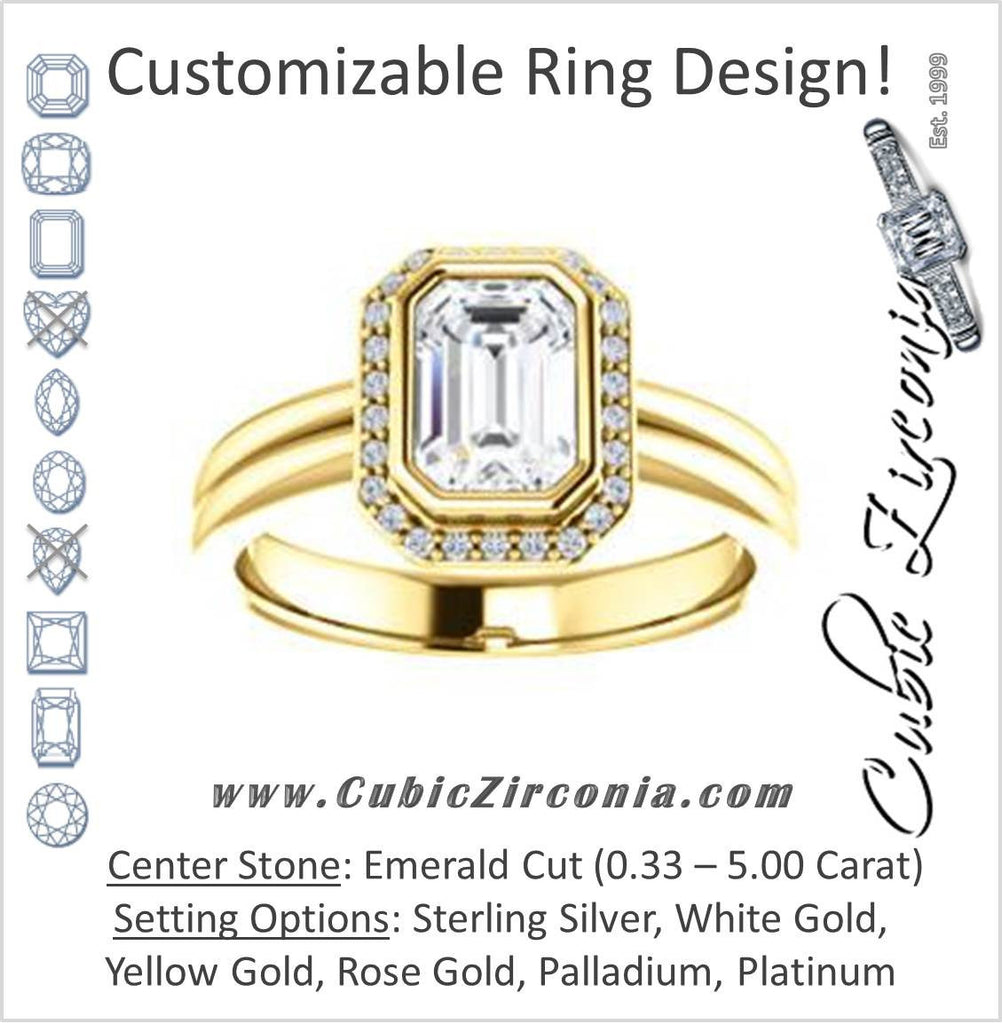 Cubic Zirconia Engagement Ring- The Sloan (Bezel Style Halo and Customizable Emerald Cut Center Stone)