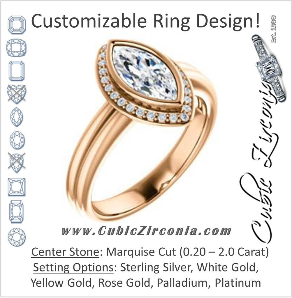 Cubic Zirconia Engagement Ring- The Sloan (Bezel Style Halo and Customizable Marquise Cut Center Stone)