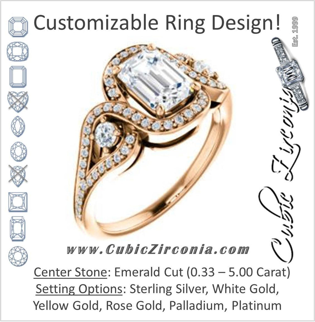 Cubic Zirconia Engagement Ring- The Sofía Anna (Customizable Emerald Cut Design with Dual Round Accents, Twisted Halo and Pavé Split Band)