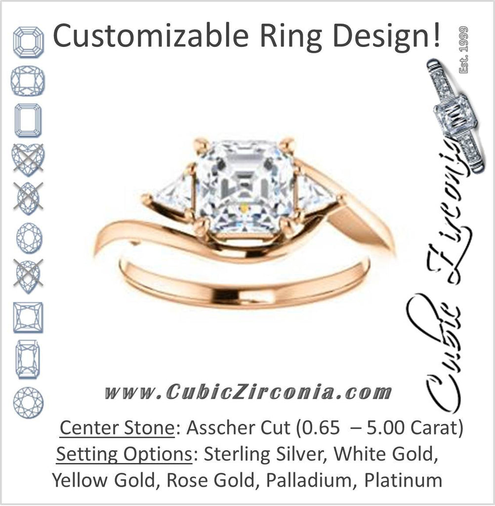 Cubic Zirconia Engagement Ring- The Sophie (Customizable 3-stone Twisting Bypass Style with Asscher Cut Center and Triangle Accents)