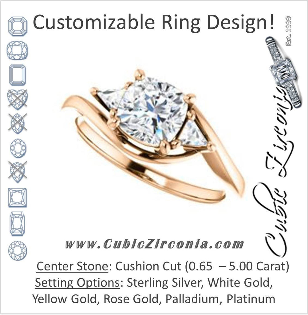 Cubic Zirconia Engagement Ring- The Sophie (Customizable 3-stone Twisting Bypass Style with Cushion Cut Center and Triangle Accents)