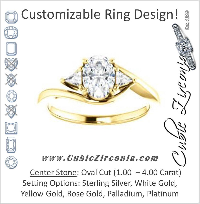Cubic Zirconia Engagement Ring- The Sophie (Customizable 3-stone Twisting Bypass Style with Oval Cut Center and Triangle Accents)