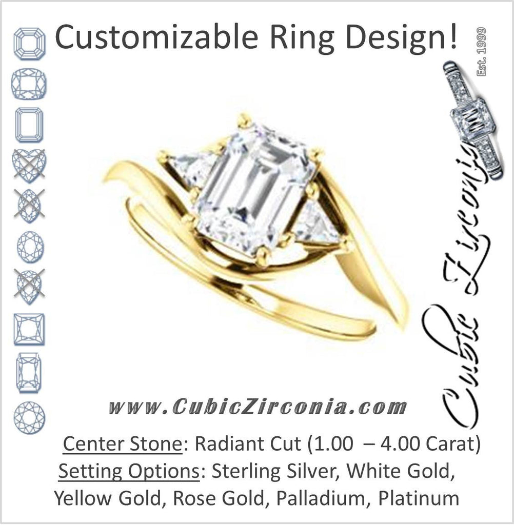 Cubic Zirconia Engagement Ring- The Sophie (Customizable 3-stone Twisting Bypass Style with Radiant Cut Center and Triangle Accents)