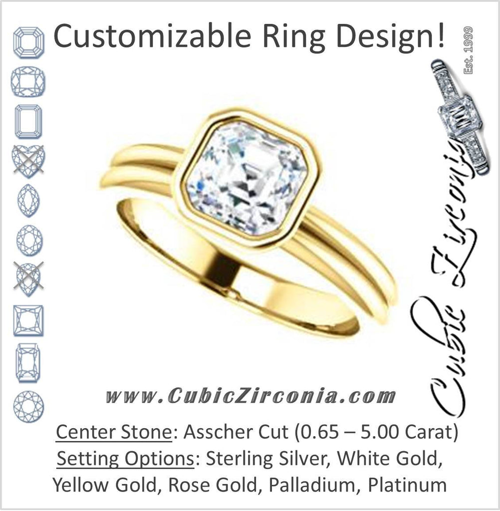 Cubic Zirconia Engagement Ring- The Stacie (Customizable Bezel-set Asscher Cut Solitaire with Grooved Band)