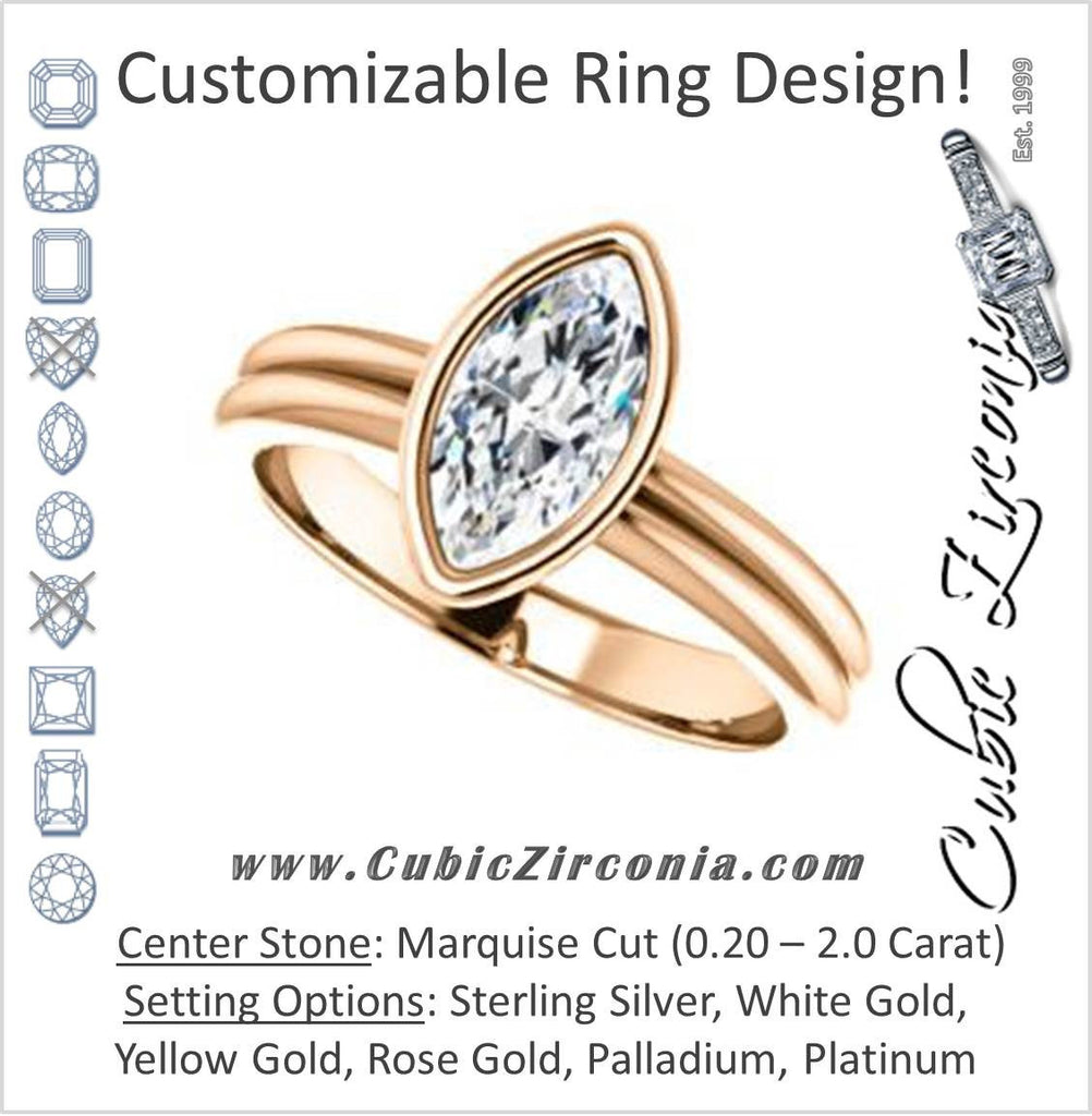 Cubic Zirconia Engagement Ring- The Stacie (Customizable Bezel-set Marquise Cut Solitaire with Grooved Band)