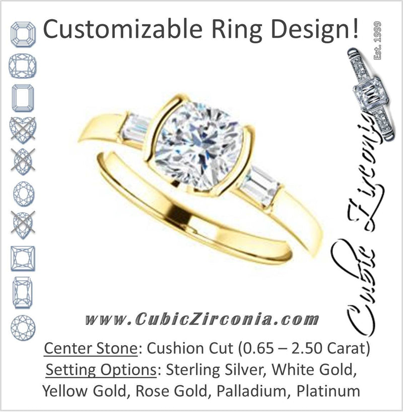 Cubic Zirconia Engagement Ring- The Stephanie (Customizable Bezel-set Cushion Cut 3-stone with Baguette Accents)