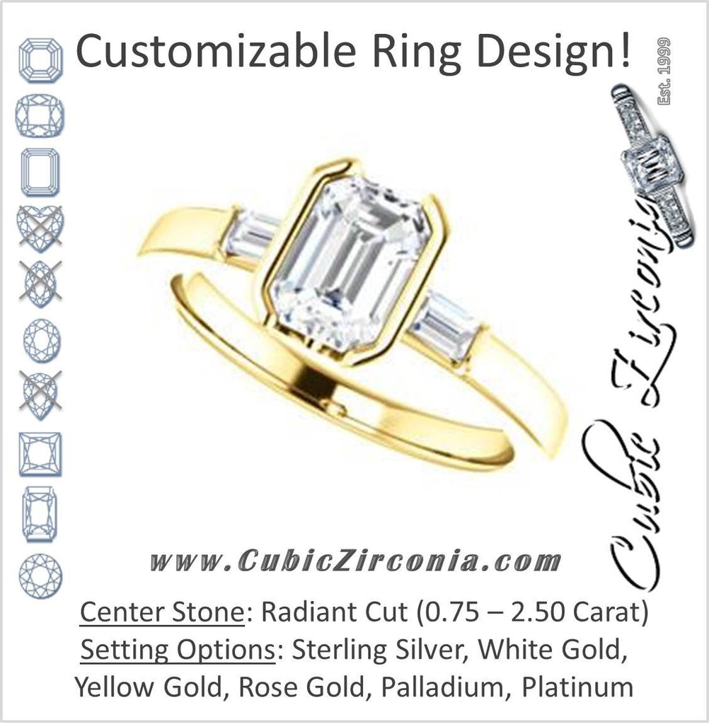 Cubic Zirconia Engagement Ring- The Stephanie (Customizable Bezel-set Radiant Cut 3-stone with Baguette Accents)