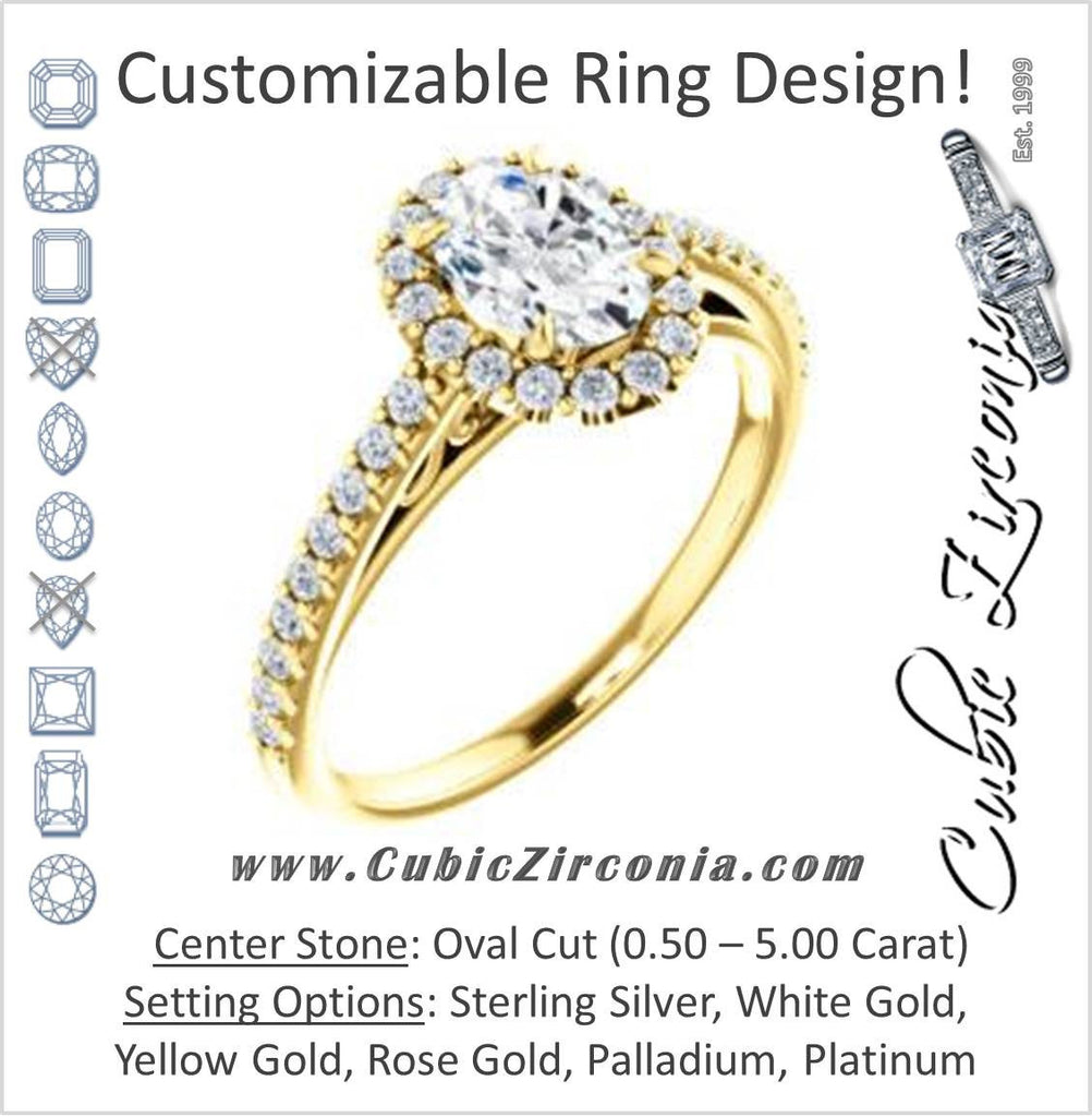 Cubic Zirconia Engagement Ring- The Sunshine (Customizable Oval Cut Halo Design with Vintage Cathedral Trellis and Thin Pavé Band)