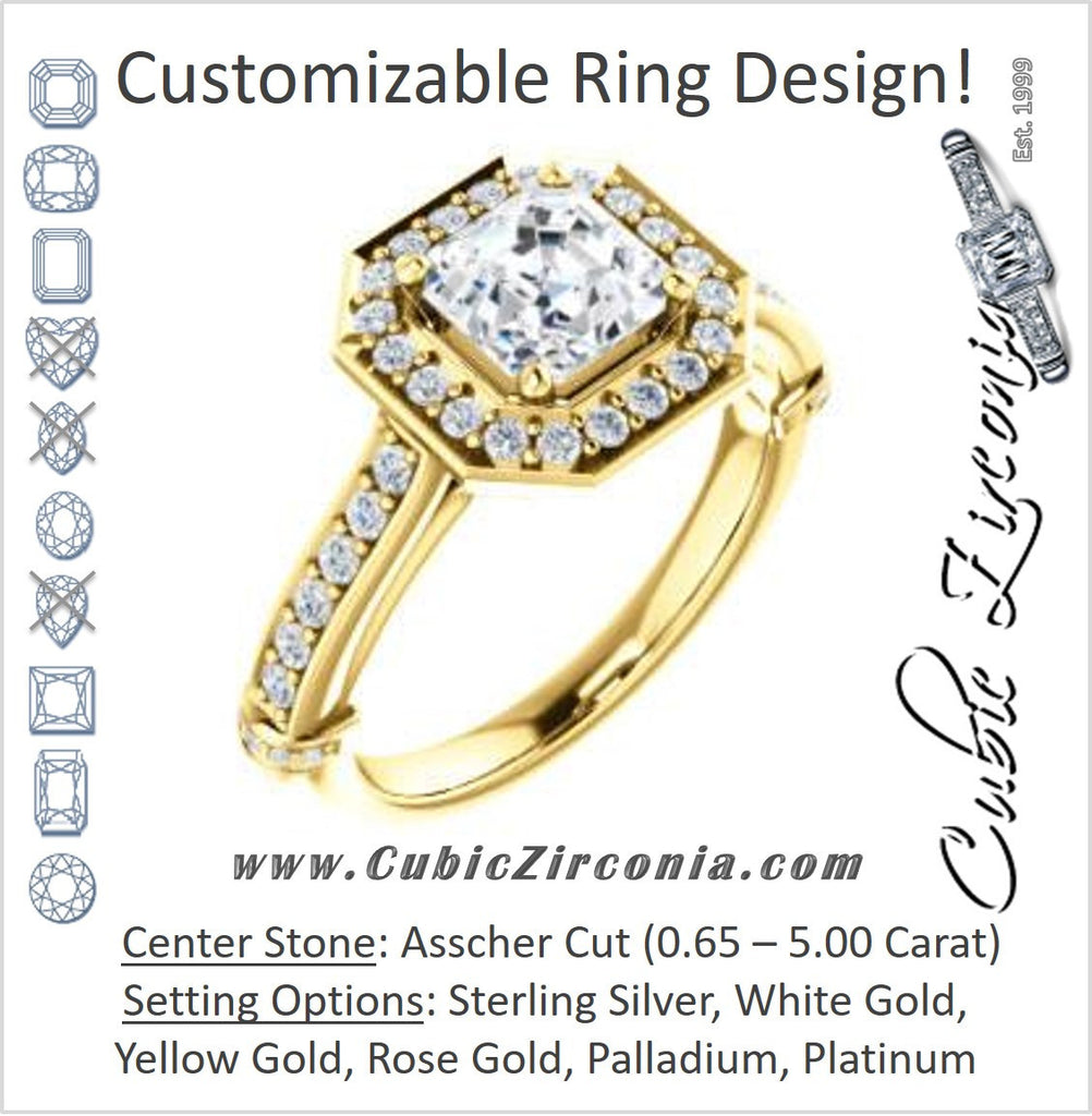 Cubic Zirconia Engagement Ring- The Susie Pat (Customizable Cathedral-set Asscher Cut with Halo, Pavé and Horizontal Band Accents)
