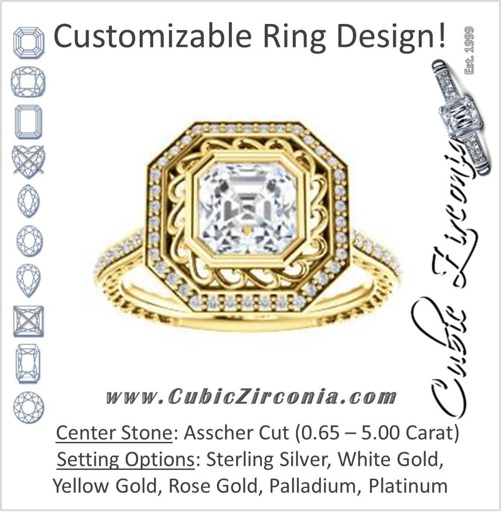 Cubic Zirconia Engagement Ring- The Sydney Ava (Customizable Cathedral-Bezel Asscher Cut Filigreed Design with Halo & Pavé Accents)