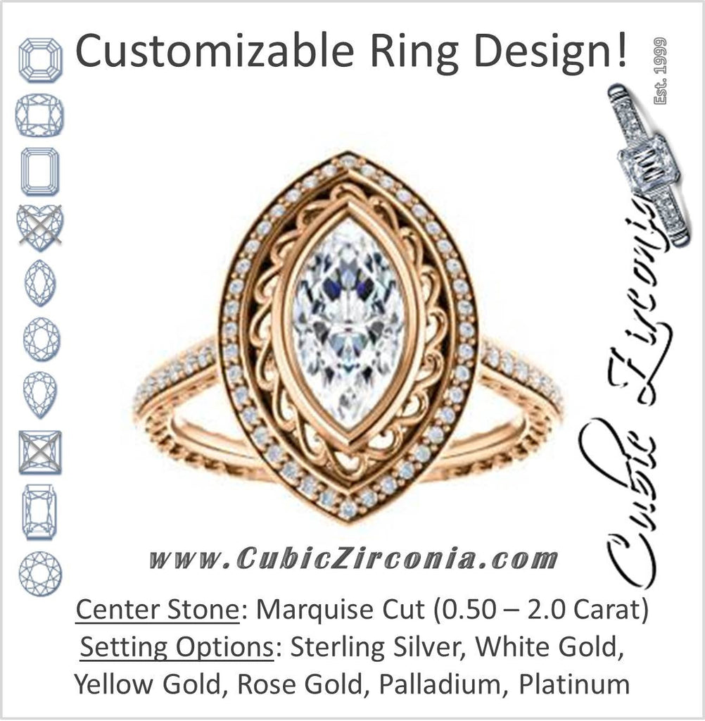 Cubic Zirconia Engagement Ring- The Sydney Ava (Customizable Cathedral-Bezel Marquise Cut Filigreed Design with Halo & Pavé Accents)