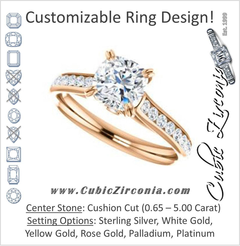 Cubic Zirconia Engagement Ring- The Tabitha (Customizable Cushion Center with Round Channel)