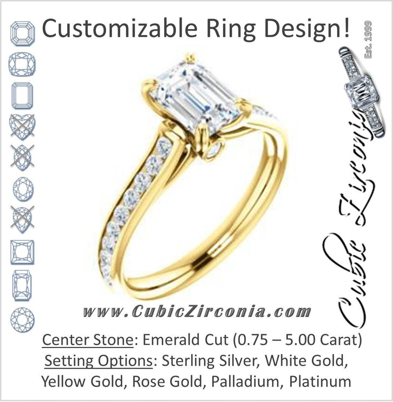 Cubic Zirconia Engagement Ring- The Tabitha (Customizable Emerald Center with Round Channel)