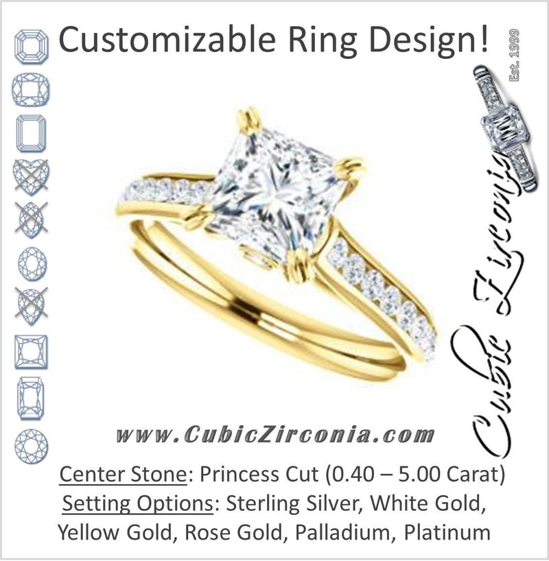 Cubic Zirconia Engagement Ring- The Tabitha (Customizable Princess Center with Round Channel)