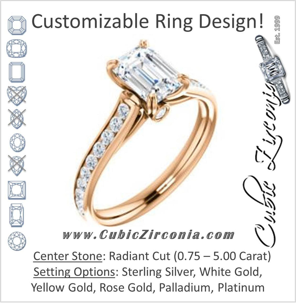 Cubic Zirconia Engagement Ring- The Tabitha (Customizable Radiant Center with Round Channel)