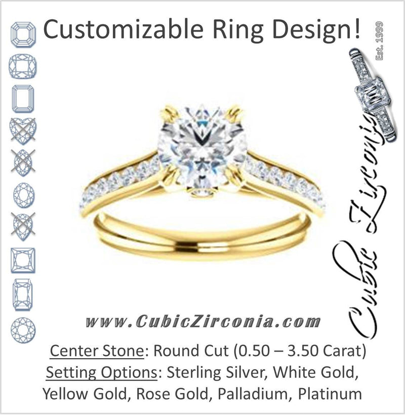 Cubic Zirconia Engagement Ring- The Tabitha (Customizable Round Center with Round Channel)