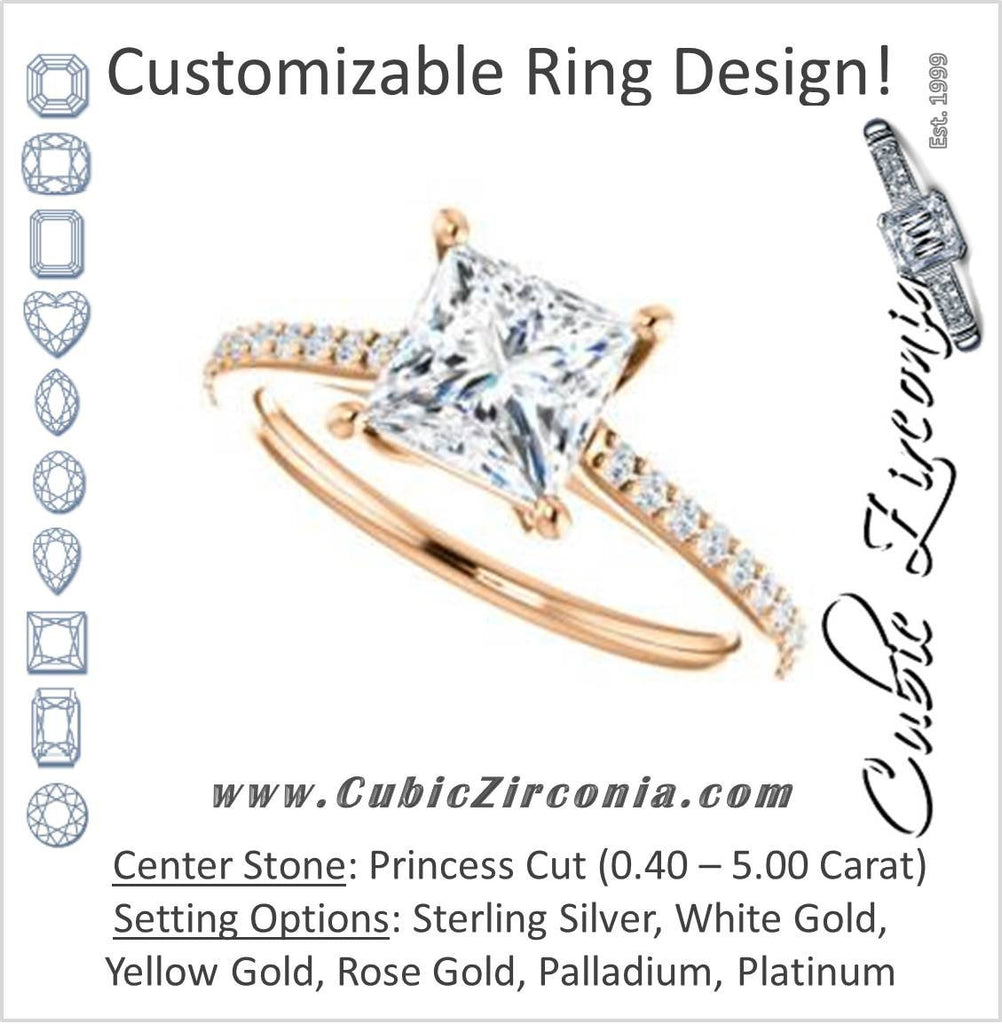 Cubic Zirconia Engagement Ring- The Tanisha (Customizable Cathedral-set Princess Cut Design with Thin Pavé Band)