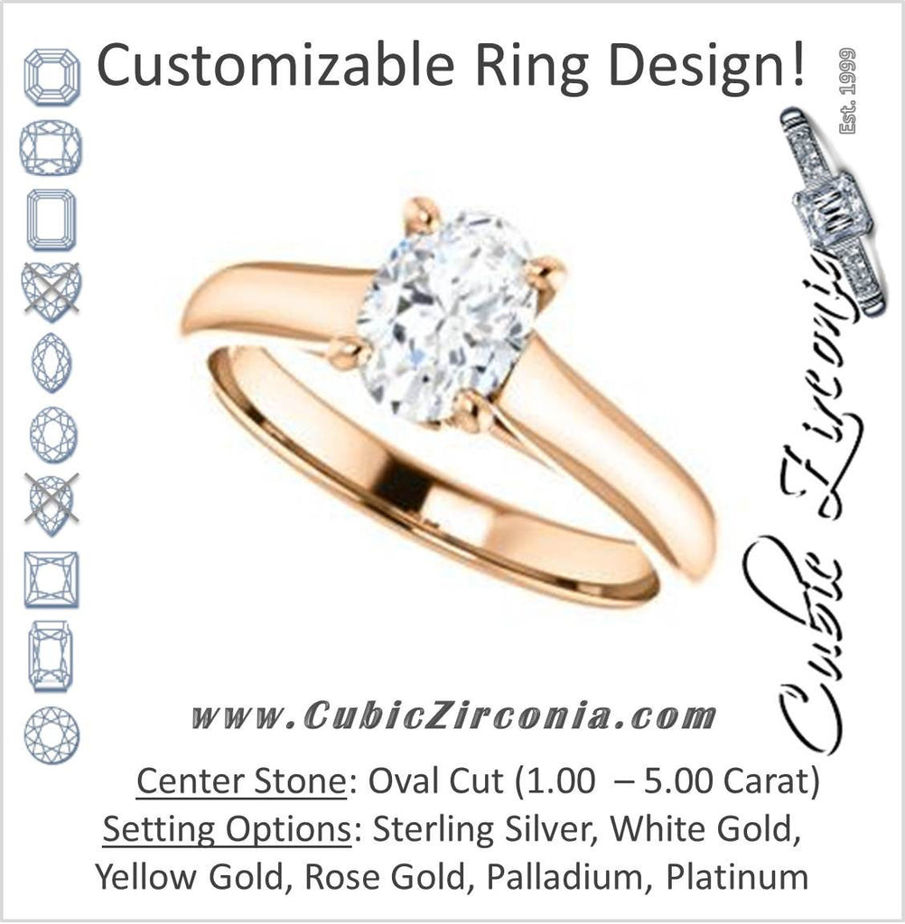 Cubic Zirconia Engagement Ring- The Tawanda (Customizable Oval Cut Cathedral Setting with Peekaboo Accents)